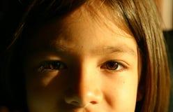 褐色注视女孩一点 免版税库存照片