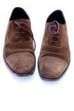 褐色穿上鞋子使用的绒面革 免版税库存图片