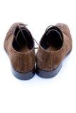 褐色穿上鞋子使用的绒面革 免版税图库摄影