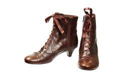 褐色穿上鞋子妇女 库存照片