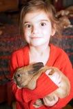 褐色被注视的女孩兔子 免版税库存图片