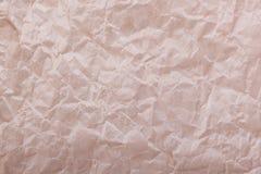 褐色起皱纹的纸特写镜头  免版税图库摄影