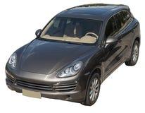黑褐色SUV孤立 免版税库存照片