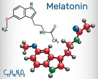 褪黑素分子,调控睡眠和失眠的激素 皇族释放例证