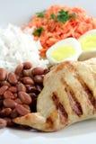巴西、米和豆典型的盘  图库摄影