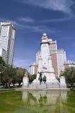 西万提斯的纪念碑在马德里,西班牙 免版税库存照片
