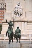 西万提斯的纪念碑在马德里,西班牙 库存图片