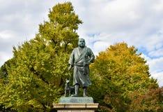 西乡隆盛雕象在上野公园,东京 免版税库存图片