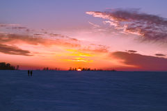 西伯利亚日落 免版税库存图片