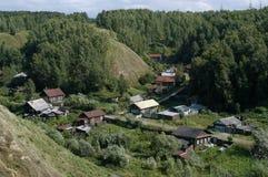 西伯利亚村庄 库存图片