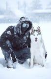 西伯利亚爱斯基摩人狗冬天纵向 免版税库存照片