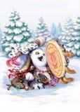西伯利亚的猫头鹰僧人 免版税库存照片