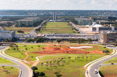巴西利亚市试验计划鸟瞰图  免版税库存图片