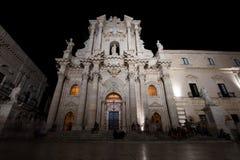 西勒鸠斯大教堂在晚上 免版税库存图片