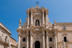 西勒鸠斯大教堂美妙地装饰的门面  库存图片
