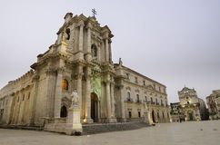 西勒鸠斯,西西里岛大教堂  免版税库存照片
