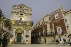 西勒鸠斯,西西里岛老镇  免版税图库摄影