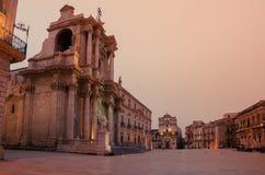 西勒鸠斯,西西里岛,意大利:大教堂正方形 免版税图库摄影