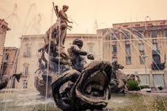 西勒鸠斯,西西里岛,意大利:Archimede广场 免版税库存照片