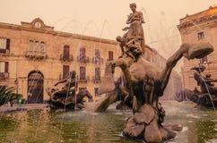 西勒鸠斯,西西里岛,意大利:Archimede广场 免版税库存图片