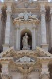 西勒鸠斯Duomo di Siracusa大教堂的细节  fam 免版税库存图片