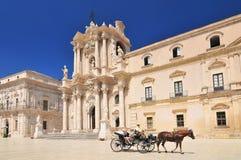 西勒鸠斯Duomo di Siracusa大教堂  r 库存图片