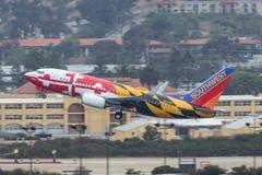 西南航空叫作` 737-7H4 N918WN的波音马里兰一`离去的圣地牙哥国际机场 图库摄影