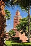 西南麦地那处所的Koutoubia清真寺马拉喀什 免版税库存图片