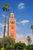 西南麦地那处所的Koutoubia清真寺马拉喀什 免版税图库摄影