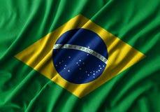 巴西在波浪棉织物高细节的旗子绘画  免版税库存照片
