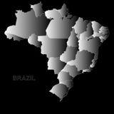 巴西在黑色的概述地图 库存照片