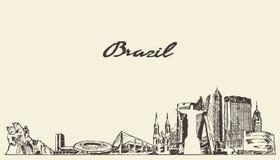巴西地平线传染媒介例证被画的剪影 向量例证
