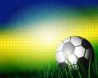 巴西夏天2014年 在背景的足球橄榄球设计的 库存照片