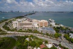 西奈山医疗中心迈阿密海滩天线图象 库存照片