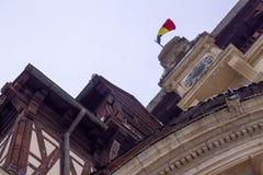 西奈,罗马尼亚建筑学的元素从19世纪 在冬天 免版税库存图片