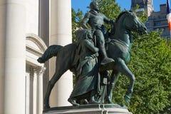 西奥多・罗斯福总统骑马雕象在纽约 库存照片