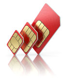 西姆卡片用不同的大小 免版税库存图片