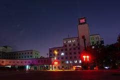 西安科技大学新的校园在晚上4月2018 Ch 库存照片
