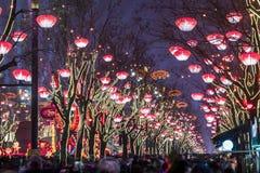 西安,中国- 2019年2月13日 在旅游景点的人群为庆祝中国春节 免版税库存照片
