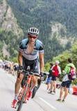 西尔万攀登Alpe D'Huez的Chavanel 免版税库存照片