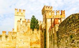 西尔苗内,意大利- 2014年9月20日:Scaliger城堡 免版税库存照片