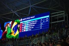 巴西庆祝在撑竿跳高的第一枚奥运金牌奖牌 库存照片