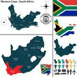 西开普省,南非地图  免版税库存照片