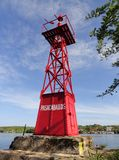 西恩富戈斯海湾灯塔 免版税库存照片