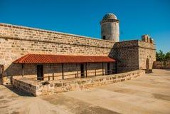 西恩富戈斯,古巴:卡斯蒂略de Jagua城堡,老堡垒看法在古巴福特莱萨de Jagua 图库摄影