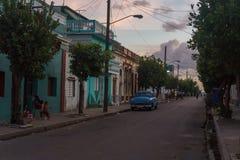 西恩富戈斯,古巴- 2016年12月31日:街道视图 免版税库存图片
