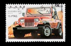 西撒哈拉4x4车邮票 库存照片