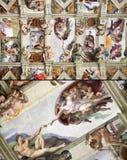 西斯廷教堂天花板,梵蒂冈,意大利 免版税库存图片