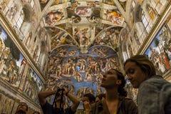 西斯廷教堂的内部和细节,梵蒂冈 免版税图库摄影