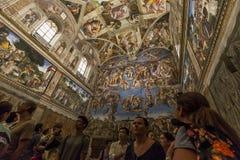 西斯廷教堂的内部和细节,梵蒂冈 免版税库存照片